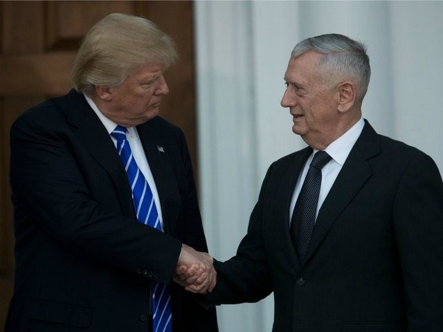 President-elect Donald Trump shakes hands with retired United States Marine Corps general James Mattis after their meeting at Trump International Golf Club, November 19, 2016 in Bedminster Township, New Jersey. Trump and his transition team are in the process of filling cabinet and other high level positions for the new …