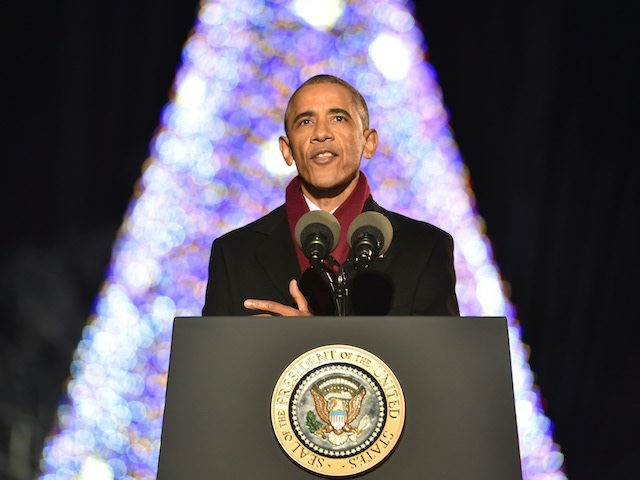 US President Barack Obama speaks during the National Christmas Tree Lighting on the Ellipse of the National Mall in Washington on December 1, 2016.  / AFP / Nicholas Kamm        (Photo credit should read NICHOLAS KAMM/AFP/Getty Images)