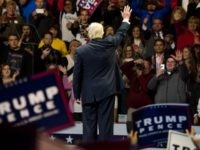 President-elect Donald Trump acknowledges the crowd after speaking at U.S. Bank Arena on December 1, 2016 in Cincinnati, Ohio. Trump took time off from selecting the cabinet for his incoming administration to celebrate his victory in the general election. (Photo by