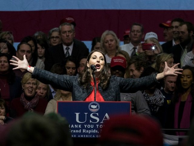 Michigan Republican Party Chair Ronna Romney McDaniel speaks before President-elect Donald Trump at the DeltaPlex Arena, December 9, 2016 in Grand Rapids, Michigan.