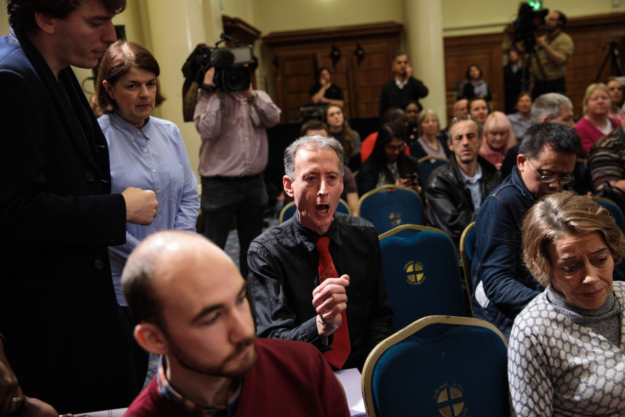 Peter Tatchell shouts from the audience (Photo by Jack Taylor/Getty Images)