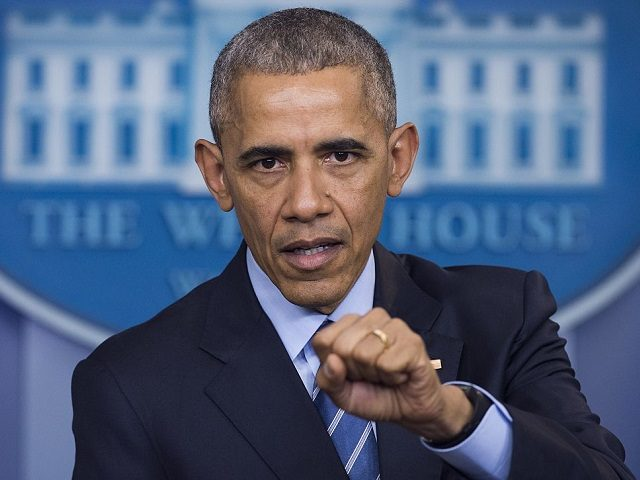 """US President Barack Obama holds a year-end press conference in the Brady Press Briefing Room of the White House in Washington, DC, December 16, 2016. Obama on Friday warned his successor Donald Trump against antagonizing China by reaching out to Taiwan, saying he could risk a """"very significant"""" response if …"""