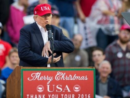 President-elect Donald Trump speaks during a thank you rally in Ladd-Peebles Stadium on December 17, 2016 in Mobile, Alabama. President-elect Trump has been visiting several states that he won, to thank people for their support during the U.S. election. (Photo by