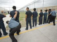 "Raymondville, UNITED STATES: Guards search male detainees inside Homeland Security's Willacy Detention Center, a facility with 10 giant tents that can house up to 2000 detained illegal immigrants, 10 May 2007 in Raymondville, Texas. The 65 million USD facility was constructed as part of Secure Border Initative last July and now where many of the former ""catch and release"" illegals are detained for processing.    AFP Photo/Paul J. Richards (Photo credit should read PAUL J. RICHARDS/AFP/Getty Images)"