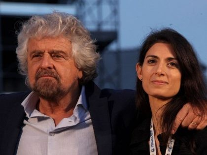 M5S Founder Beppe Grillo with Rome's Mayor, Virginia Raggi.
