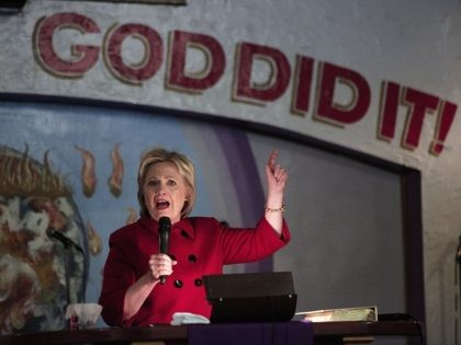 DETROIT, MI - MARCH 6: Democratic Presidential Candidate Hillary Clinton speaks at the Holy Ghost Cathedral March 6, 2016 in Detroit, Michigan. Clinton is campaigning in Michigan ahead of the primary on March 8. (Photo by Bill Pugliano/Getty Images)