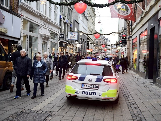 Danish police patrols the pedestrian street in the center of Copenhagen, Denmark Tuesday, Dec. 20, 2016, the day after a truck ran into a crowded Christmas market and killing people Monday evening in Berlin, Germany. (Tariq Mikkel Khan/Polfoto via AP)