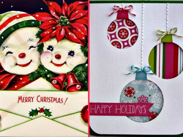 merry christmas happy holidays cards