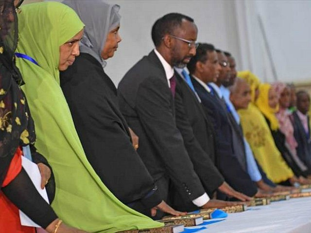 MOGADISHU, SOMALIA - DECEMBER 27: Members of Parliament take part in the oath-taking ceremony after the General elections in Mogadishu, Somalia on December 27, 2016. (Photo by Sadaq Mohamed /Anadolu Agency/Getty Images)