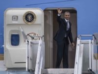 Obama leaves (Clemens Bilan / AFP / Getty)