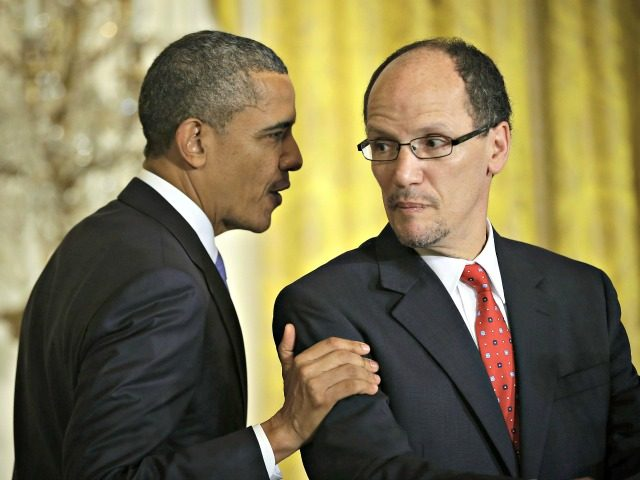 Obama with Labor Sec Tom Perez AP