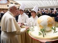 Chefs present early birthday cake to Pope Francis Wednesday.