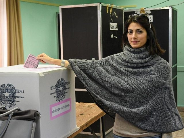 Rome's Mayor, Virginia Raggi, casts her vote Sunday in Italian referendum.