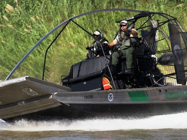 Border Patrol Air-Boat in South Texas Laredo, Rio Grande Valley River