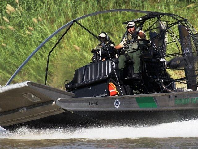 Border Patrol Air-Boat in South Texas Laredo, Rio Grande Valley River