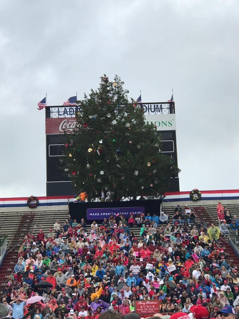 Giant Christmas tree in the north endzone at Ladd-Peebles in Mobile, AL