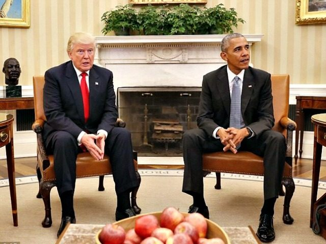 Trump and Obama AP