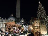 The Christmas tree (R) and the nativity scene (C) are pictured at the Saint Peter's square following the illumination ceremony on December 9, 2016 in Vatican. This year, the Christmas ornaments were made by children of the paediatric oncology departments of Italian hospitals. / AFP / VINCENZO PINTO (Photo credit …