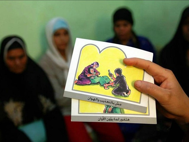 A counsellor holds up cards used to educate women about female genital mutilation (FGM) in Minia June 13, 2006.