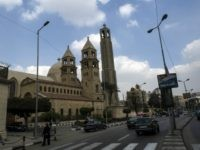 A picture taken on February 16, 2015 shows Saint-Mark's Coptic Cathedral in Cairo's al-Abbassiya district where Egypt's Coptic Pope Tawadros II receives condolences, a day after the Islamic State (IS) group posted a video purportedly showing the decapitation of 21 Egyptian Coptic Christians. In reaction to the gruesome footage of the beheadings that provoked outrage in Egypt, Cairo launched air strikes against IS group targets in Libya, opening a new front while already battling the jihadists in its Sinai Peninsula. AFP PHOTO / KHALED DESOUKI (Photo credit should read KHALED DESOUKI/AFP/Getty Images)