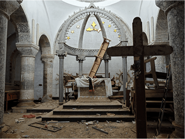 A church in Iraq smashed up by ISIS.