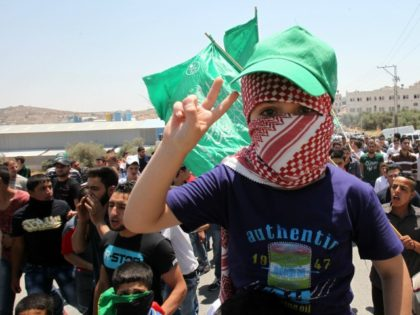A child flashes the sign of victory during a demonstration of Palestinian Islamist Hamas supporters in support of Jerusalem's Al-Aqsa mosque on July 31, 2015 in the Israeli-controlled area called H2, in the West Bank town of Hebron. The protesters also demonstrated in reaction to the death of a Palestinian …