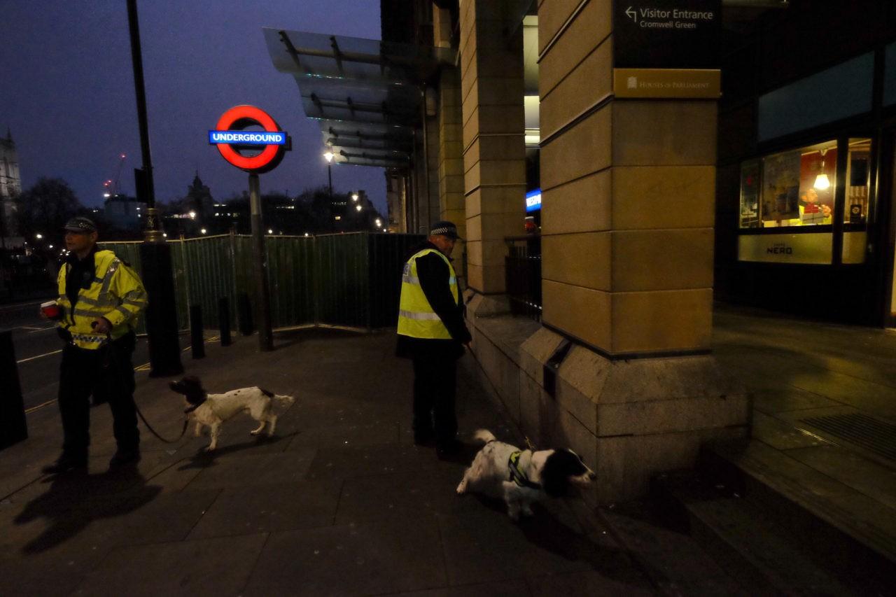 Security road block NYE London