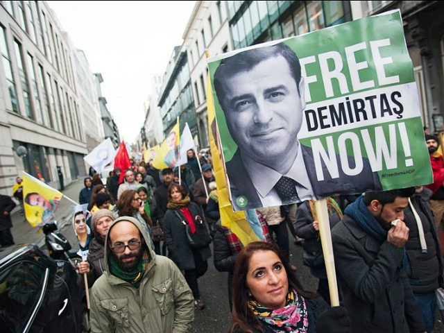 BRUSSELS, BELGIUM - 2016/11/17: A Kurdish protester holds up a banner for Demirtas at a Kurdish march in Brussels against Turkeys policy. (Photo by Frederik Sadones/Pacific Press/LightRocket via Getty Images)