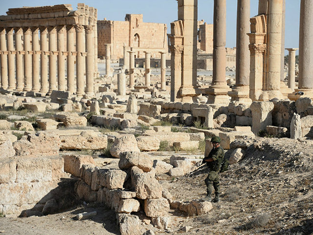 2839317 05/05/2016 A soldier in the historical part of Palmyra liberated from Islamic State militants. Maksim Blinov/Sputnik via AP
