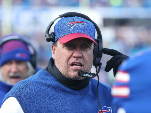 Head coach Rex Ryan of the Buffalo Bills, seen December 18, 2016, will be replaced by offensive coordinator Anthony Lynn as interm coach for the final game of the season