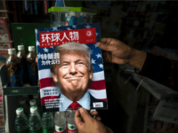 A copy of the local Chinese magazine Global People with a cover story that translates to 'Why did Trump win' is seen with a front cover portrait of US president-elect Donald Trump at a news stand in Shanghai on November 14, 2016. Chinese President Xi Jinping and US president-elect Donald …