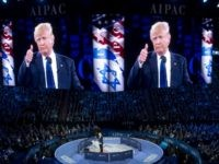 US Republican presidential hopeful Donald Trump gives a thumbs-up as he addresses the American Israel Public Affairs Committee (AIPAC) 2016 Policy Conference at the Verizon Center in Washington, DC, March 21, 2016. / AFP / SAUL LOEB (Photo credit should read SAUL LOEB/AFP/Getty Images)