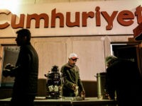 Protesters take the tea during a demonstration in support to the Turkish daily newspaper 'Cumhuriyet' outside its headquarters in Istanbul on November 1, 2016. Turkish police on October 31, 2016, detained the editor-in-chief of the newspaper Cumhuriyet -- a thorn in the side of President Recep Tayyip Erdogan -- as …