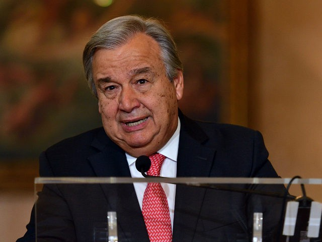 Future General Secretary of Union Nation António Guterres gives a speech in Ministery of Foreign Affairs in Lisbon. October 7th, 2016, Lisbon, Portugal (Photo: Gonçalo Silva). *** Please Use Credit from Credit Field *** (Sipa via AP Images)