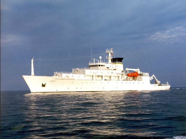 FILE - In this undated file photo released by the U.S. Navy Visual News Service, the USNS Bowditch, a T-AGS 60 Class Oceanographic Survey Ship, sails in open water. China's seizure of an American underwater drone is the latest sign that the Pacific Ocean's dominant power and its rising Asian …