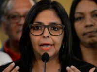 Venezuelan Foreign Minister Delcy Rodriguez offers a press conference after holding a meeting with members of 'Commission for Truth and Justice,' in Caracas on December 2, 2016. Venezuela on Friday angrily rejected its suspension from the South American economic bloc Mercosur, saying it did not recognize the action taken by …