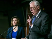 UNITED STATES - MAY 11 - Democratic Whip Steny Hoyer, D-Md., speaks alongside House Minority Leader Nancy Pelosi, D-Calif., at a news conference on Capitol Hill in Washington, Wednesday, May 11, 2016, to discuss how Donald Trump's rhetoric echoes the long-standing policy positions of House Republicans. (Photo By Al Drago/CQ Roll Call) (CQ Roll Call via AP Images)