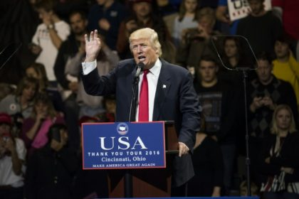US President-elect Donald Trump speaks during a stop at U.S. Bank Arena on December 1, 2016 in Cincinnati, Ohio