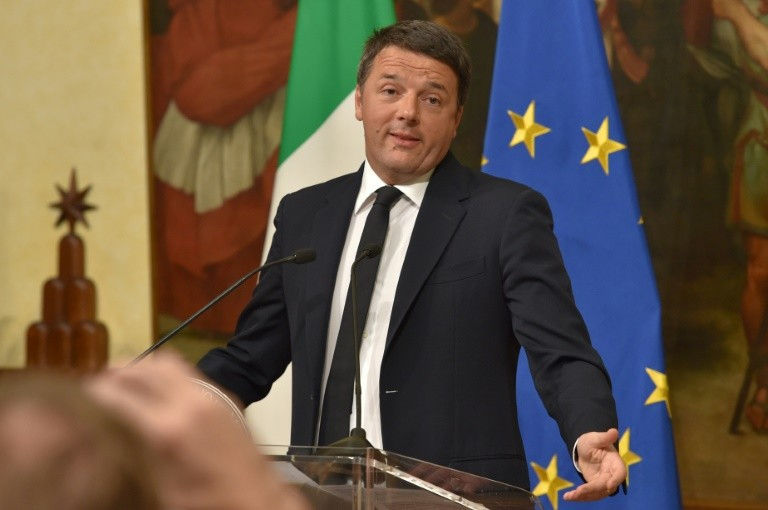 Italy's Prime Minister Matteo Renzi, seen December 5, 2016, formally resigned December 7, 2016