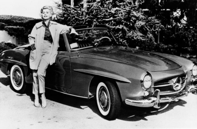 Actress Zsa Zsa Gabor poses on May 12, 1958, in front of her Mercedes car