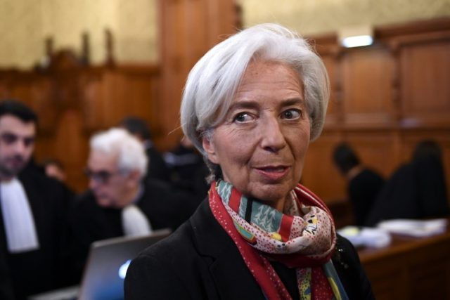 IMF chief Christine Lagarde pictured in a Paris courtroom on December 12, 2016