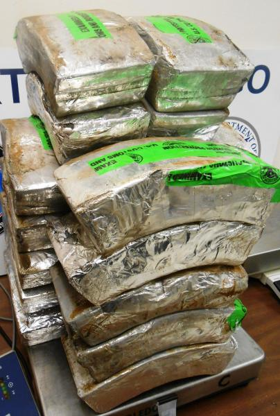 Packages containing 129 pounds of methamphetamine seized by CBP officers at Hidalgo International Bridge. Photo: U.S. Customs and Border Protection