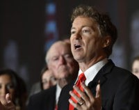 Sen. Rand Paul, R-Ky. addresses the crowd gathered at his victory celebration, Tuesday, Nov. 8, 2016 in Louisville Ky. (AP Photo/Timothy D. Easley)
