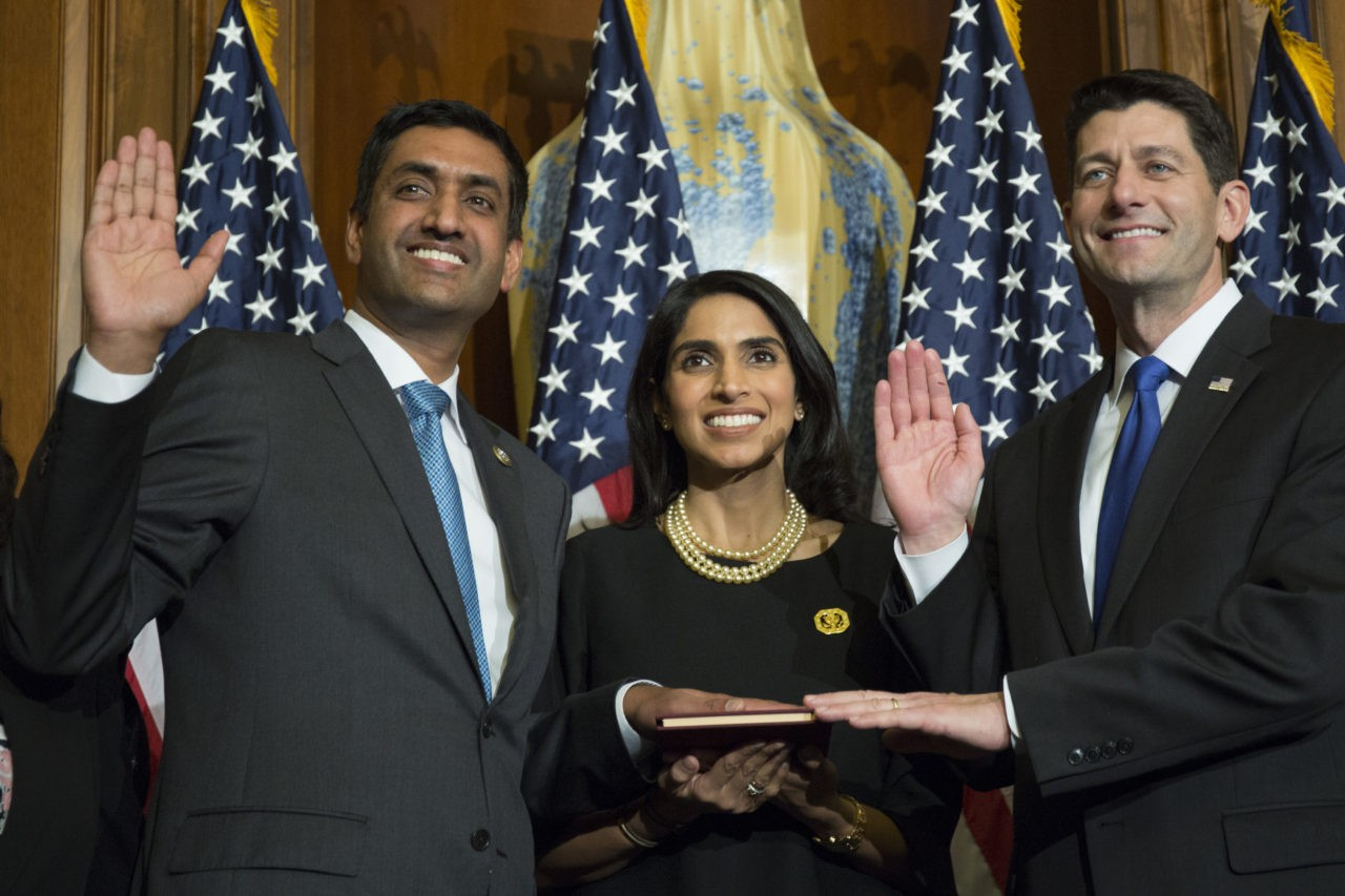 House Speaker Paul Ryan of Wis. administers the House oath of office to Rep. Ro Khanna, D-Calif., during a mock swearing in ceremony on Capitol Hill in Washington, Tuesday, Jan. 3, 2017. (AP Photo/Zach Gibson)