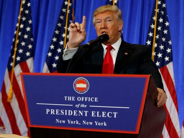 President-elect Donald Trump speaks during a news conference in the lobby of Trump Tower, Wednesday, Jan. 11, 2017, in New York. (