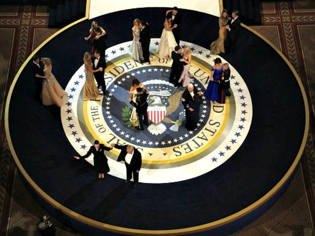 President Donald Trump and his wife First Lady Melania Trump dance during A Salute To Our Armed Services Inaugural Ball at the National Building Museum on January 20, 2017 in Washington, DC. President Donald Trump was sworn in as the 45th President of the United States today.