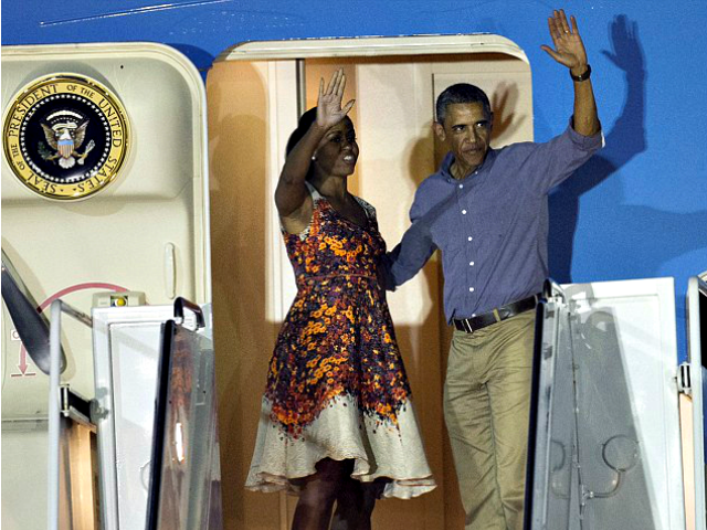 Barack and Michelle Air Force One AP