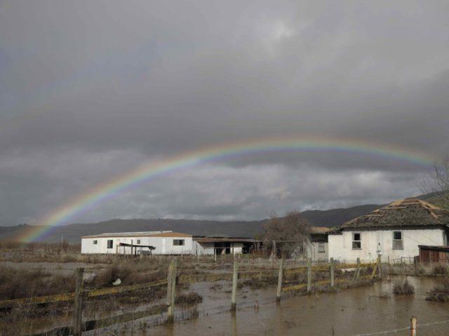 California rain drought rainbow flood (Marcio Jose Sanchez / Associated Press)