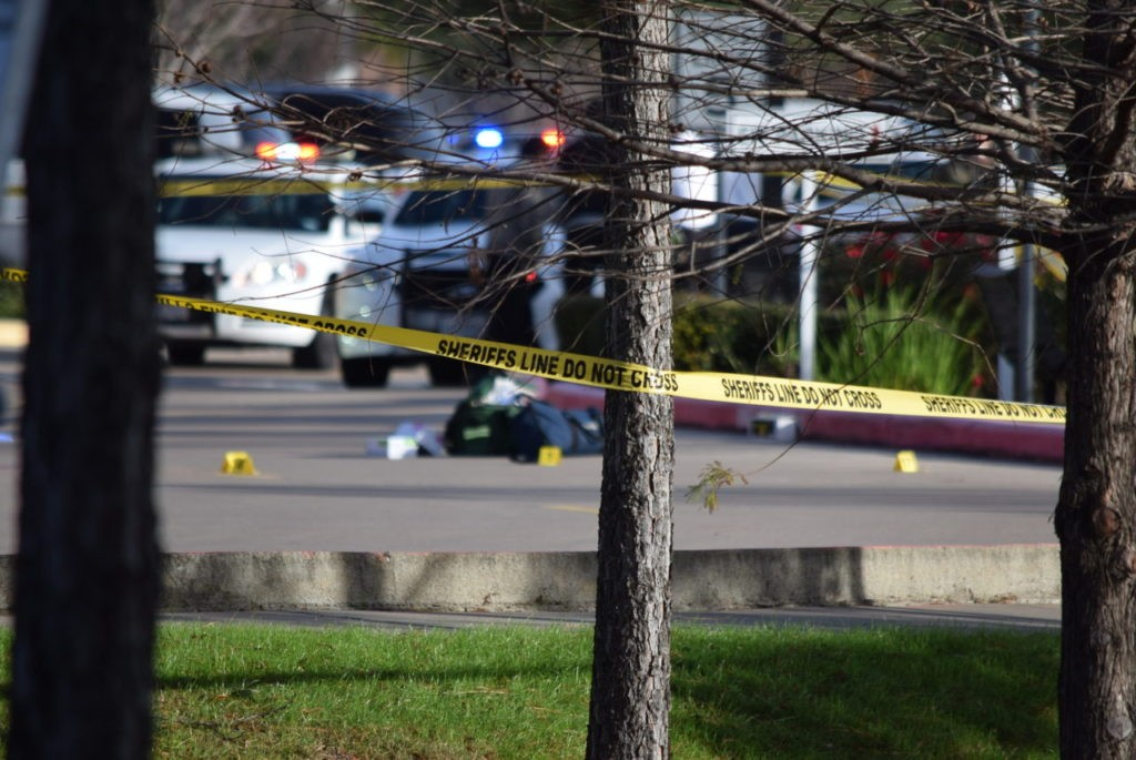 Evidence markers indicating location of multiple shots fired by deputies. (Photo: Bob Price/Breitbart Texas)