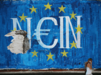 The German word 'Nein' which means 'No' sits on graffiti art displaying the European Union (EU) flag and a euro symbol on July 8, 2015 in Athens, Greece.